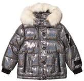 Diadora Black Glitter Welland Piumino Corto Nylon Hooded Jacket