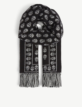 Alexander McQueen Skull-print wool and silk-blend scarf