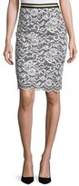 Trina Turk Paltrow Lace Pencil Skirt, Whitewash/Black