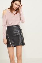 Dynamite Faux Leather Mini Skirt with Zips