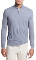 Loro Piana Super Light Cashmere Half-Zip Sweater, Stone Jeans