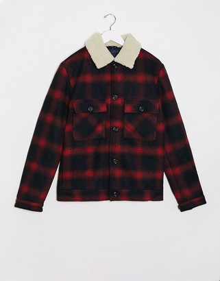 Jack and Jones checked trucker wool jacket with borg