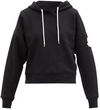 Moncler Logo-print Cotton-blend Jersey Hooded Sweatshirt - Black
