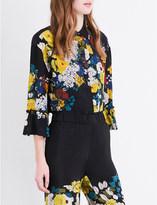 Sandro Floral-print silk-crepe shirt