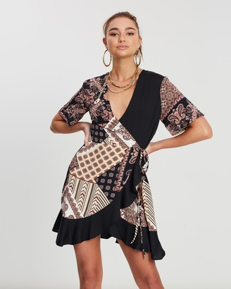 Missguided Scarf Print Wrap Front Frill Mini Dress
