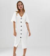 Asos DESIGN Petite slinky rib button through midi dress with puff sleeve