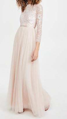 Needle & Thread Sequin Ribbon Long Sleeve Bodice Maxi Dress