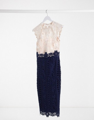 Lipsy all over lace 2 in 1 contrast pencil dress in cream navy multi