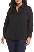 Foxcroft Plus Size Women's Ellen Solid Stretch Cotton Top