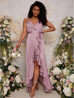 Chi Chi London Ruffle Detail Wrap Bridesmaid Dress - Lilac