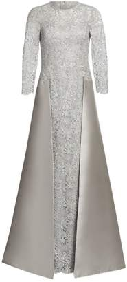 Teri Jon By Rickie Freeman Embellished Floral Lace & Gazar Gown