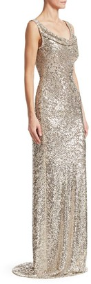 Naeem Khan Cowlneck Allover Sequin Column Gown