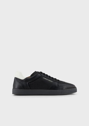 Giorgio Armani Leather Sneakers With Deerskin And Suede Details