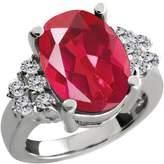 Gem Stone King 4.48 Ct Oval Last Dance Pink Mystic Quartz White Diamond 18K White Gold Ring