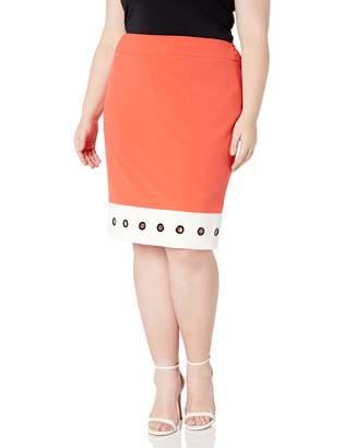 Nine West Women's Plus Size Skirt W/White Hem and Grommets