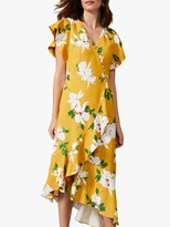 Phase Eight Dannie Floral Midi Dress, Canary Yellow