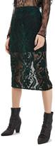 Topshop Velvet Mesh Pencil Skirt