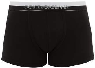 Dolce & Gabbana Logo Jacquard Cotton Blend Jersey Boxer Briefs - Mens - Black
