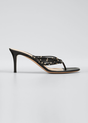 Gianvito Rossi 70mm Napa Thong Sandals with Gold Beads