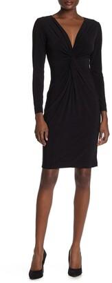 Bebe Knot Front V-Neck Dress