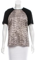 Jason Wu Leather-Trimmed Printed Top