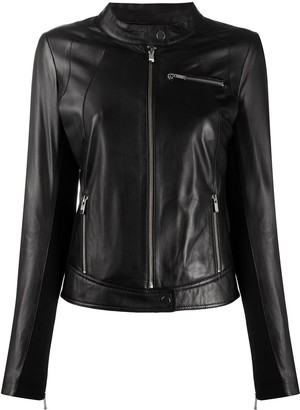 Arma High-Neck Leather Jacket