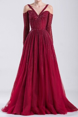 Saiid Kobeisy Long Dropped Sleeve Tulle Gown