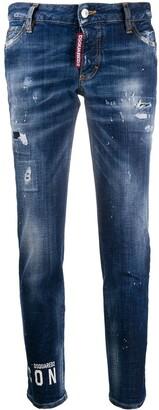 DSQUARED2 Logo Print Slim-Fit Jeans