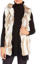 Adrienne Landau Real Rabbit Fur Hooded Vest