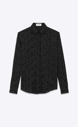 Saint Laurent Classic Shirts Eyelet Fabric Shirt Embroidered With Stars Black 10