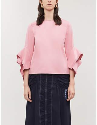 Roksanda Rana fluted-sleeve cotton-poplin top
