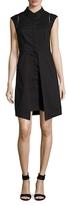 Shoshanna Cotton Point Collar Slit Dress