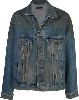Balenciaga worn-out effect logo denim jacket