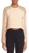Jonathan Simkhai Mesh Draped Long Sleeve Silk Top