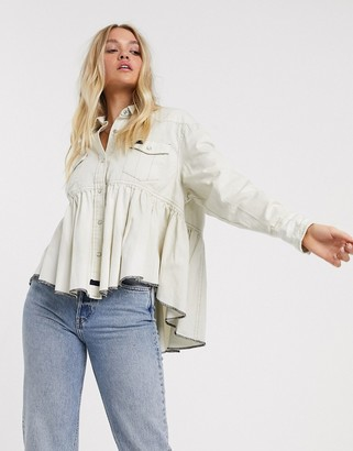 We The Free by Free People Dylan babydoll white denim shirt