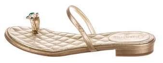 Chanel Embellished Metallic Sandals