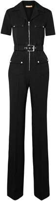 Michael Kors Collection Belted Wool-gabardine Jumpsuit