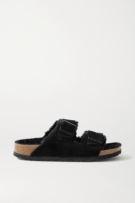 Birkenstock Arizona Shearling-lined Suede Sandals - Black
