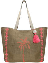 Aspiga Palm Tree Jute Beach Bag Fluro Pink