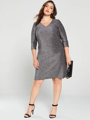 Junarose Curve Sakina Lurex Shift Dress - Black/Silver