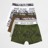 River Island Boys Blue leaf print boxers multipack
