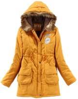YACUN Women's Winter Warm Jacket Hooded Parka With Waist Tie 4XL