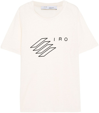 IRO Lucie Flocked Linen-jersey T-shirt