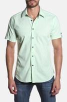 Jared Lang Trim Fit Short Sleeve Dobby Sport Shirt