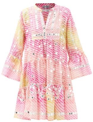 Juliet Dunn Mirror-work Tiered Gauze Dress - Pink Multi