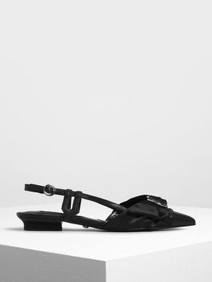 Charles & Keith Ring Detail Satin Fabric Leather Slingback Flats