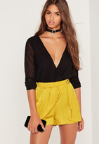 Missguided Satin D-Ring Side Wrap Skort Yellow