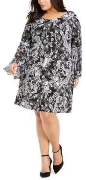 MSK Plus Size Bell-Sleeve Sheath Dress