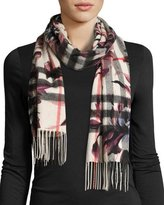 Burberry Cashmere Check & Floral Fringe Scarf, Light Gray