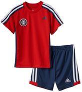 adidas Toddler Boy Logo Patch Tee & Striped Shorts Set